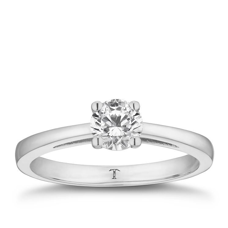 Tolkowsky platinum 0.66ct HI-SI2 diamond ring - Product number 8699771