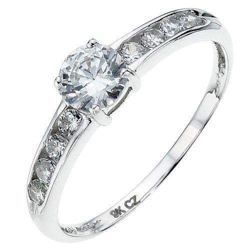 9ct white gold cubic zirconia channel set ring - Product number 8706670