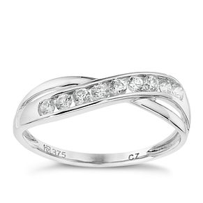 9ct white gold cubic zirconia cross over eternity ring - Product number 8707200
