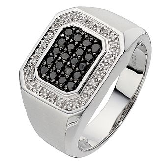 Silver white & black treated diamond centre ring - Product number 8725969