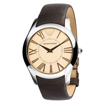Emporio Armani men's brown leather strap watch. - Product number 8731713