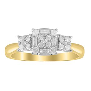 9ct Yellow Gold 1/3ct Diamond Three Cluster Ring - Product number 8781184