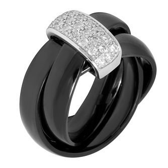 Slim Black Ceramic & Diamond Russian Ring - Product number 8801428