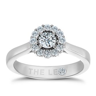 Leo Diamond platinum 1/2ct I-SI2 round halo ring - Product number 8812446