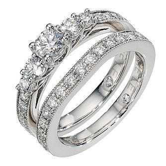 Leo platinum 1 and 0.25ct diamond bridal ring set - Product number 8812705