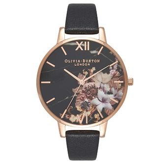 Olivia Burton Marble Floral Rose Gold Plated Black Watch - Product number 8817006