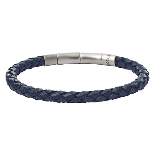 Fossil Men's Stainless Steel Blue Leather Bracelet - Product number 8817197