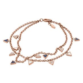 Fossil Ladies' Rose Gold Tone Multi Triangle Bracelet - Product number 8817324