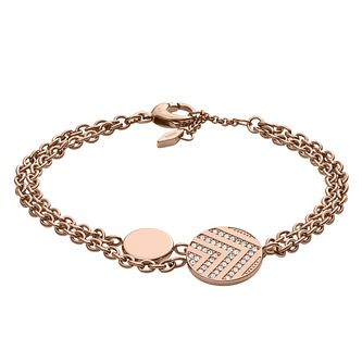 Fossil Chevron Ladies' Rose Gold Tone Stone Set Bracelet - Product number 8817332