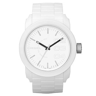 Diesel Mens Double Down White Dial & Silicone Bracelet Watch - Product number 8852502