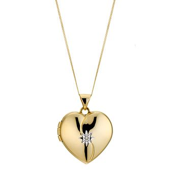 9ct Yellow Gold Diamond Heart Locket 18mm - Product number 8882703
