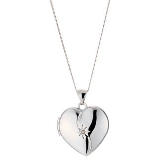9ct White Gold Diamond Locket Necklace - Product number 8882711