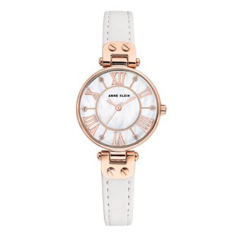 Anne Klein Ladies' White Leather Strap Watch - Product number 8890978