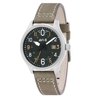 AVI-8 Mens Hawker Hurricane Green Leather Strap Watch - Product number 8901929