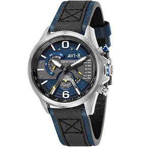 AVI-8 Men's Hawker Harrier II Grey Leather Strap Watch - Product number 8901996