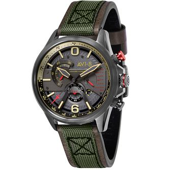 AVI-8 Men's Hawker Harrier II Green Leather Strap Watch - Product number 8902003