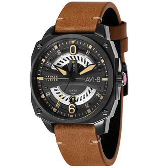 AVI-8 Men's Hawker Hunter Brown Leather Strap Watch - Product number 8902321