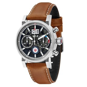 AVI-8 Men's Hawker Hurricane Brown Leather Strap Watch - Product number 8902348