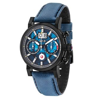 AVI-8 Men's Hawker Hurricane Blue Leather Strap Watch - Product number 8902372
