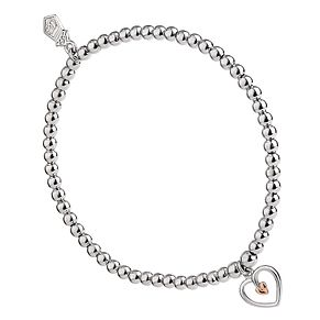 Clogau 9ct Rose Gold and Silver Heart Bracelet - Product number 8909652