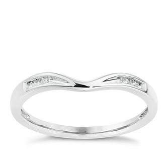 9ct White Gold Diamond Shaped Band - Product number 8912777