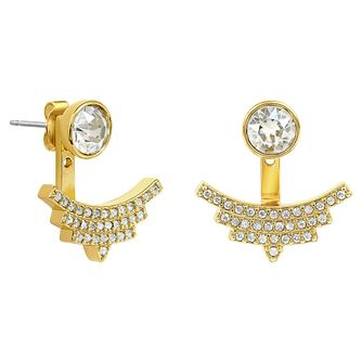 Adore Ladies' Yellow Gold Plated Pave Arc Jacket Earrings - Product number 8919542