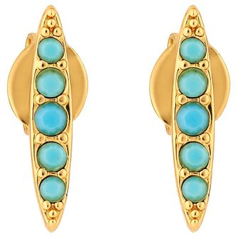 Adore Ladies' Yellow Gold Plated Turquoise Navette Earrings - Product number 8919615