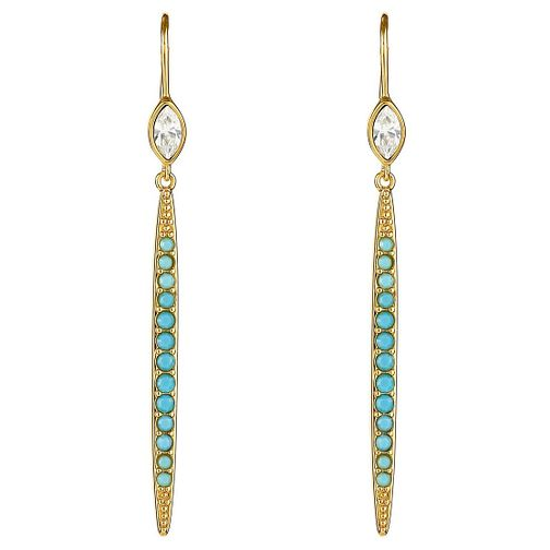 Adore Ladies' Yellow Gold Plated Turquoise Linear Earrings - Product number 8919658
