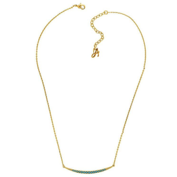 Adore Ladies' Yellow Gold Plated Turquoise Curved Necklace - Product number 8919879
