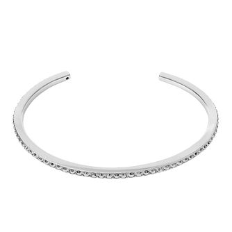 Adore Ladies' Rhodium Plated Skinny Pave Bangle - Product number 8919976