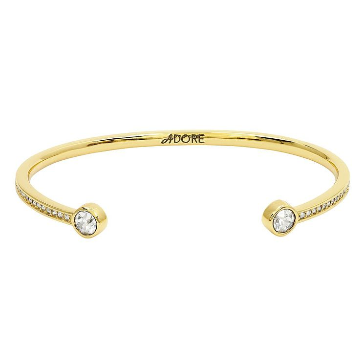 Adore Ladies' Yellow Gold Plated Skinny Pave Bangle - Product number 8920028