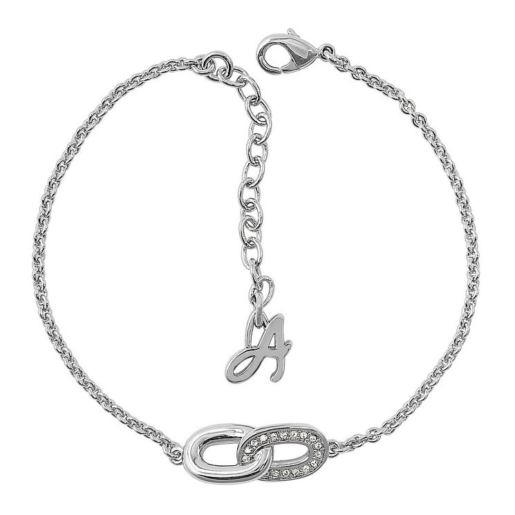 Adore Ladies' Rhodium Plated Oval Link Bracelet - Product number 8920044