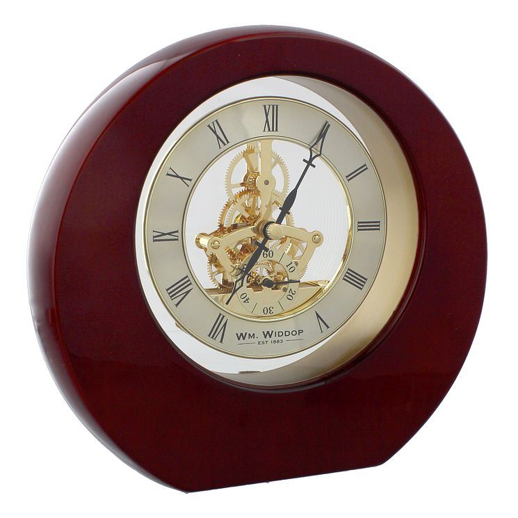 WM. Widdop Round Piano Wood Mantle Clock - Product number 8921709
