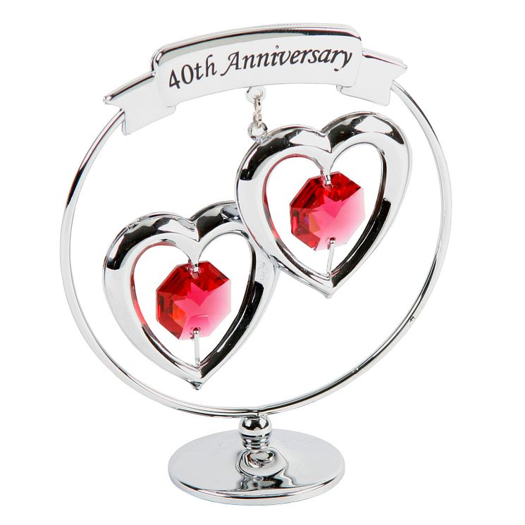 40th Anniversary Chrome Plated Love Heart Ornament - Product number 8922179