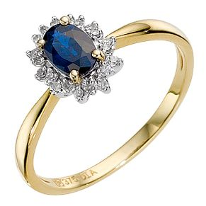 9ct gold sapphire and diamond cluster ring - Product number 8925569