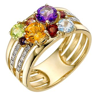 9ct yellow gold multi-coloured stone & diamond ring - Product number 8927405
