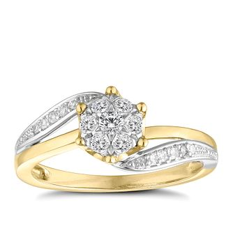 9ct gold two colour 1/4ct diamond flower cluster ring - Product number 8932085