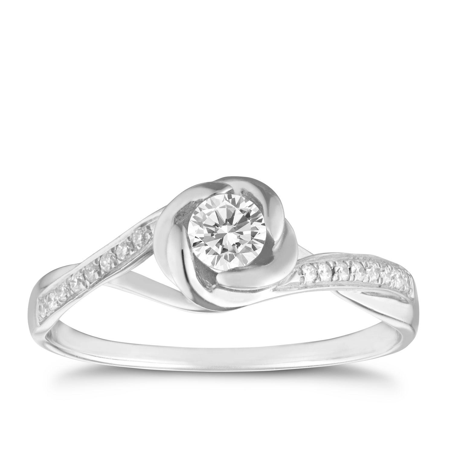 9ct White Gold 033 Carat Diamond Flower Ring Ernest Jones