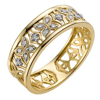 9ct yellow gold and diamond flower ring - Product number 8937516