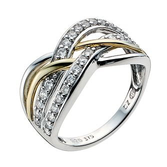Silver & 9ct Yellow Gold Cubic Zirconia Twist Ring - Product number 8942706