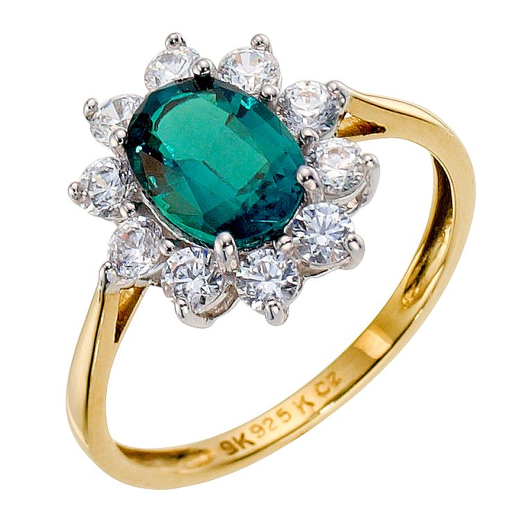 Silver & 9ct Yellow Gold Created Emerald Ring - Product number 8944415