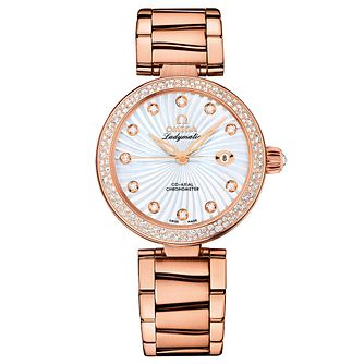 Omega Ladymatic ladies' diamond set rose gold bracelet watch - Product number 8946868