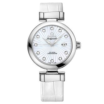 Omega De Ville Ladymatic Ladies' white strap watch - Product number 8947066