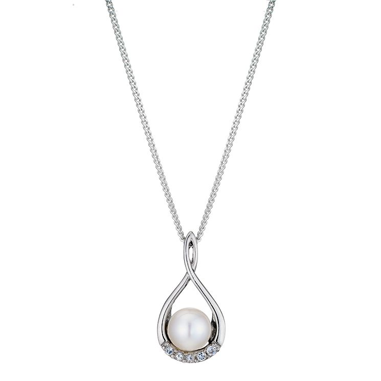 Pearl necklaces hmuel silver pearl cubic zirconia figure 8 pendant necklace product number 8952922 aloadofball Choice Image