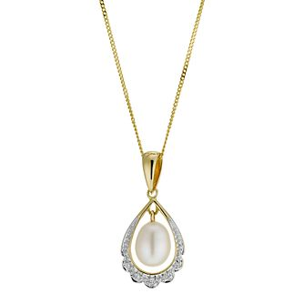 9ct Gold Cultured Freshwater Pearl Diamond Pendant - Product number 8953082