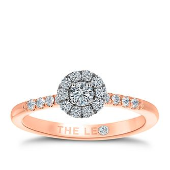 Leo Diamond 18ct Rose Gold 0.33ct Diamond Halo Ring - Product number 8955476