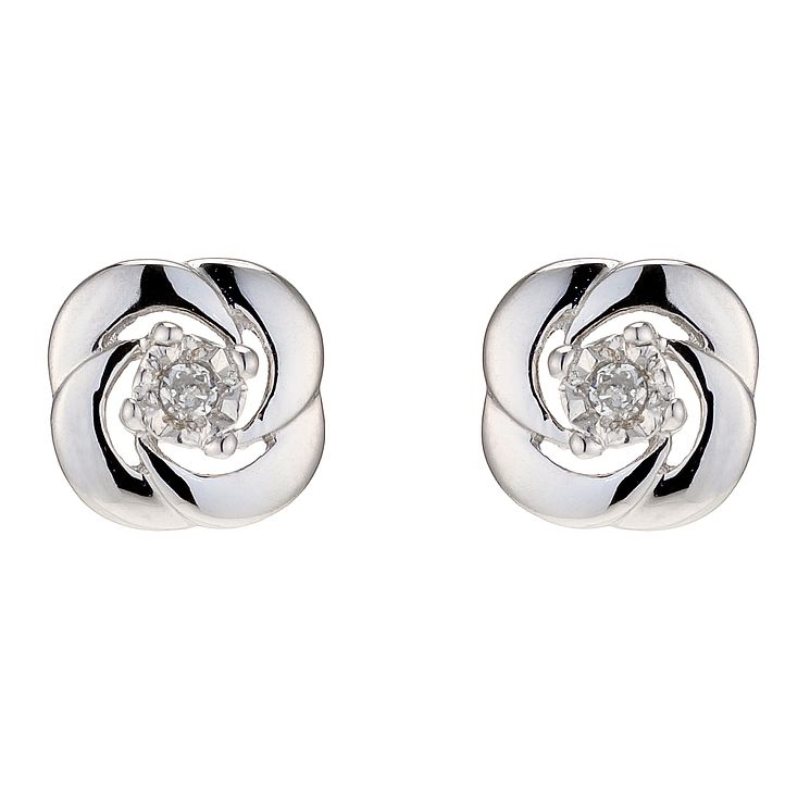 9ct White Gold Diamond Stud Earrings - Product number 8955832