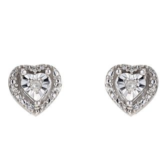 Silver Diamond Heart Stud Earrings - Product number 8956863