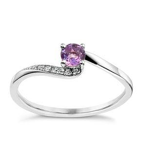 9ct White Gold Diamond & Amethyst Twist Ring - Product number 8957266