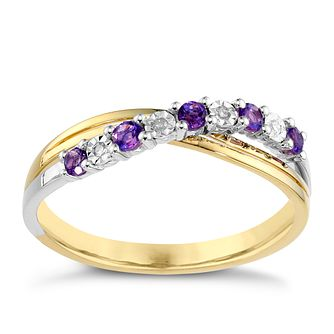9ct Yellow Gold Diamond & Amethyst Ring - Product number 8957452